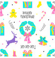 christmas tradition holiday elements in doodle vector image