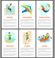 climbing and bungee jumping rafting poster set vector image vector image