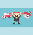 concept cartoon elderly businessmen who shows a vector image
