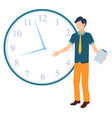 confused man standing in front clock vector image