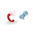 customer service handset icon with question and vector image vector image