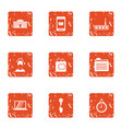 cyber work icons set grunge style vector image vector image