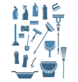 Domestic cleaning tools and supplies vector image vector image