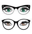 female eyes and business style glasses vector image