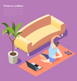 fitness online isometric background vector image vector image