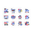 flat marketing icon set with mobile device vector image