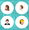 flat telemarketing set of service call center vector image vector image