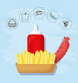 french fries and sausage for family summer picnic vector image vector image