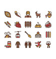 georgia color linear icon set georgian culture vector image vector image