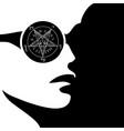 girl with wiccan symbol- sigil baphomet vector image vector image