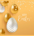gold easter eggs and spring flower greeting card vector image vector image