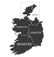ireland map labelled black vector image vector image