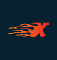 letter x flame logo speed logo design concept vector image vector image