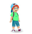 little cheerful boy with student bag character vector image