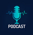 logo or icon podcast with wave on dark background vector image vector image