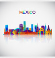 mexico skyline silhouette in colorful geometric vector image