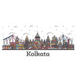 outline kolkata india city skyline with color vector image vector image