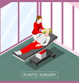 plastic surgery isometric background vector image vector image