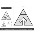 Pyramid chart line icon vector image vector image