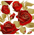 seamless pattern with red roses and gold outline vector image vector image