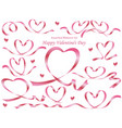 set assorted heart-shaped pink ribbons vector image vector image