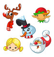 set of cartoon christmas characters vector image