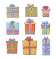 set of doodle gift boxes isolated on white vector image