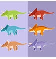Set of horned dinosaurs vector image vector image
