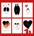 set of love cards with animals vector image vector image