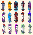 Set of skateboards and skateboarding elements vector image