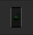 smartphone with green face scan icon vector image