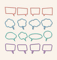 speech bubble linear with shadows icons set vector image