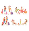 summer characters family couple travellers with vector image vector image