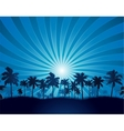 Tropical background with palm tree silhouette vector image vector image