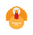 turkey bird with text thanksgiving day label vector image vector image