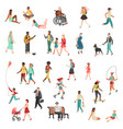 walking flat people character person standing vector image