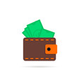 wallet with money icon with shadow vector image