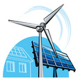 windmill and solar panel vector image vector image