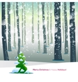 Winter forest with text greetings vector image