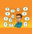 businessman solves the problem questions and vector image