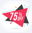 75 percent off discount and sale promotion banner vector image vector image