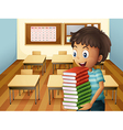 A boy carrying a pile of books vector image vector image