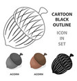an acorn with a hatdifferent kinds of nuts single vector image vector image