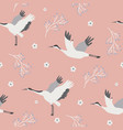 beach tropical seamless pattern with cranes vector image