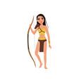 beautiful amazon girl character standing with bow vector image vector image