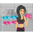 beautiful girl exercising in gym vector image