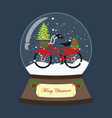 bicycle with christmas tree in snow ball vector image vector image