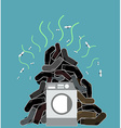 Big pile of dirty and smelly socks Washing machine vector image