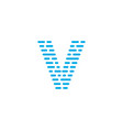 blue stripes logo letter v vector image