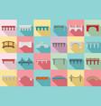 bridges icons set flat style vector image vector image